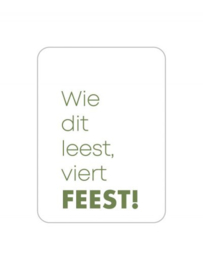 Sticker | Sluitzegel | WIE DIT LEEST VIERT FEEST | JADE GROEN