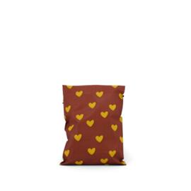 Verzendzak | HEARTS | OCHRE - CHOCO BROWN | SMALL