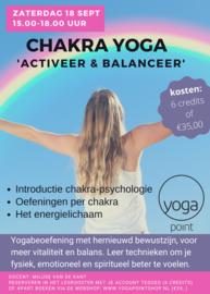 MASTERCLASS: CHAKRA YOGA  'ACTIVEER & BALANCEER' - 18 september