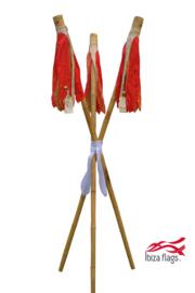 3 Ibiza Flags Rood maat S met bamboe stokken