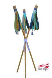 3 Ibiza Flags Aqua maat S met bamboestokken