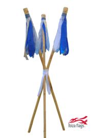 3 Ibiza Flags Blauw maat S met bamboe stokken
