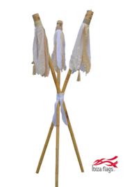 3 Ibiza Flags Wit maat S met bamboe stokken