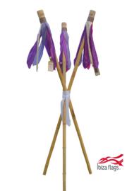 3 Ibiza Flags Paars maat S met bamboe stokken