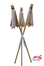3 Ibiza Flags Bruin maat S met bamboe stokken