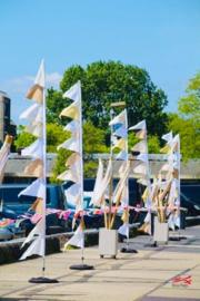 Festival vlaggen voor Happinez Festival Amsterdam