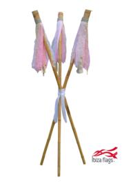 3 Ibiza Flags Roze maat S met bamboe stokken
