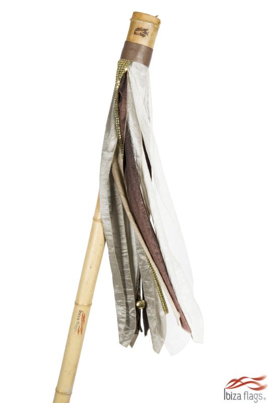 Ibiza vlag kleur Bruin met bamboepaal