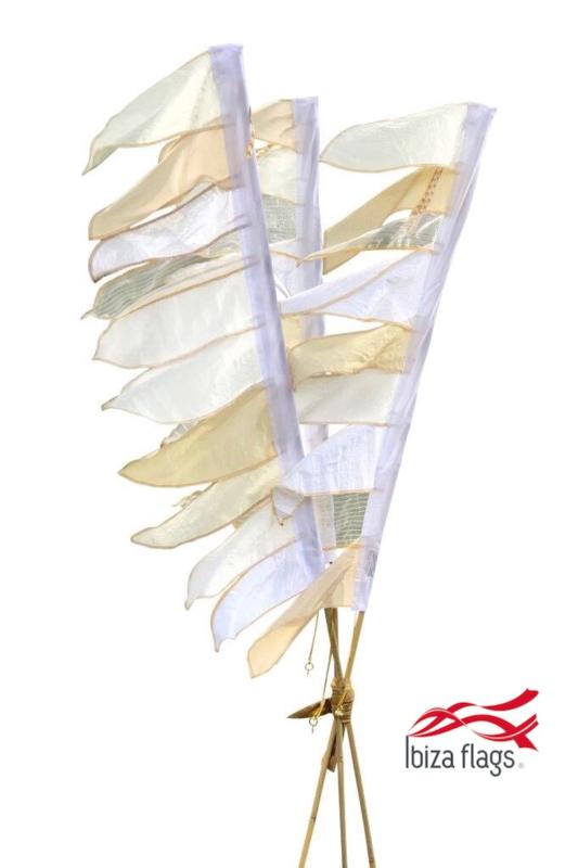 Set van 3 tuinvlaggen Wit