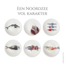 Een Noordzee vol karakter -  set van 6 dinerborden -Uitverkocht