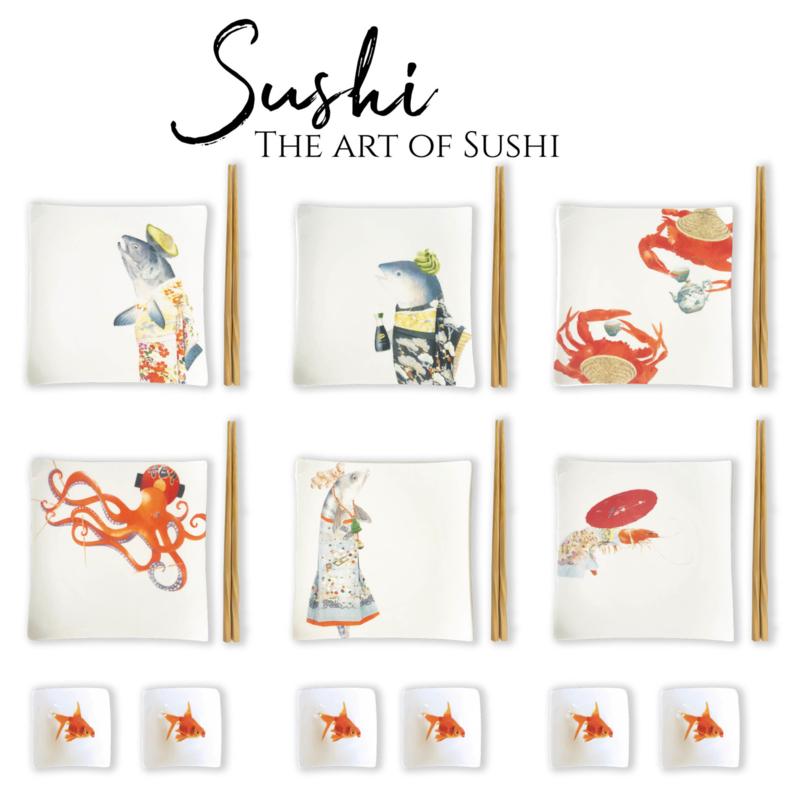 B-keus The Art of Sushi - set van 6