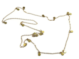 Gold plated long necklace with small charms