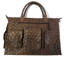 Leren werk of reis tas quilted 'Tiny'