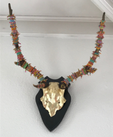 Deer antler with gold leaf and colorfull  beads