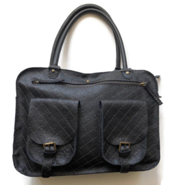 Leather quilted travel or working bag 'Emma'