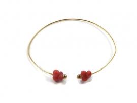 Bangle bracelet with vintage coral
