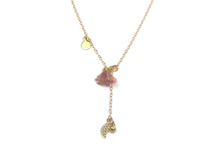 Long gold plated necklace with silk tassel and charms