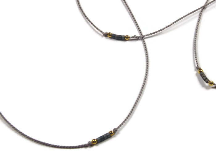 Fine silk necklace with beads