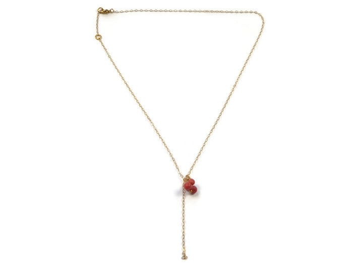 Fine gold plated necklace with vintage coral charm