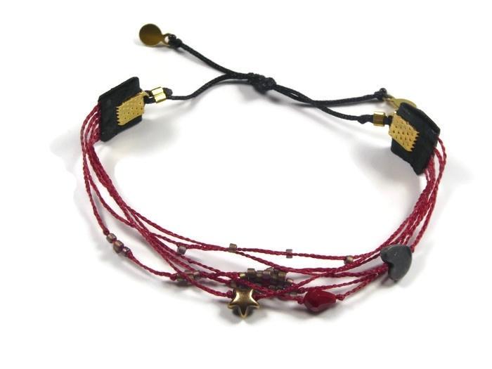 Bracelet fine 6 in 1 red