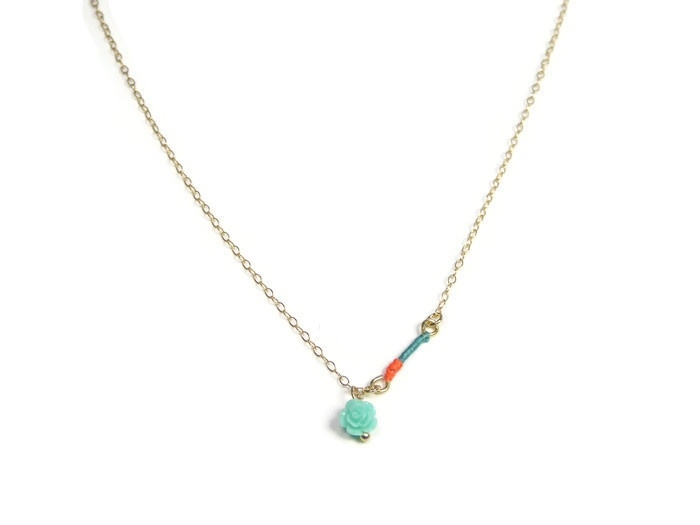 Necklace 'Sophisticated colors with small rose charm'