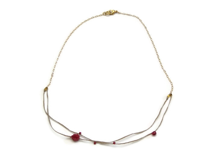 Very fine necklace double red