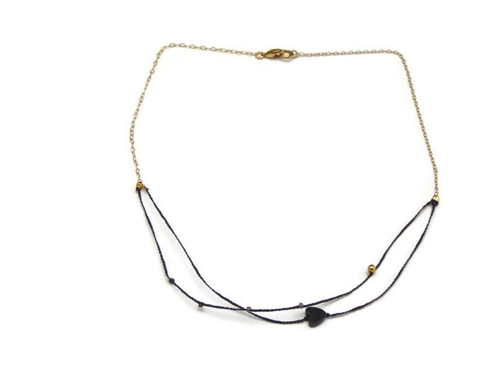 Very fine necklace double black