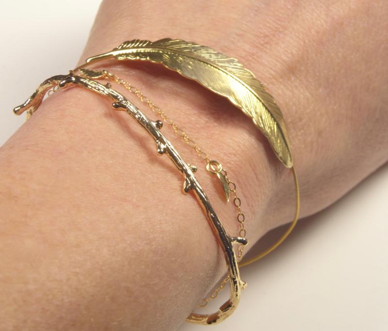 Bangle bracelet 'feather'