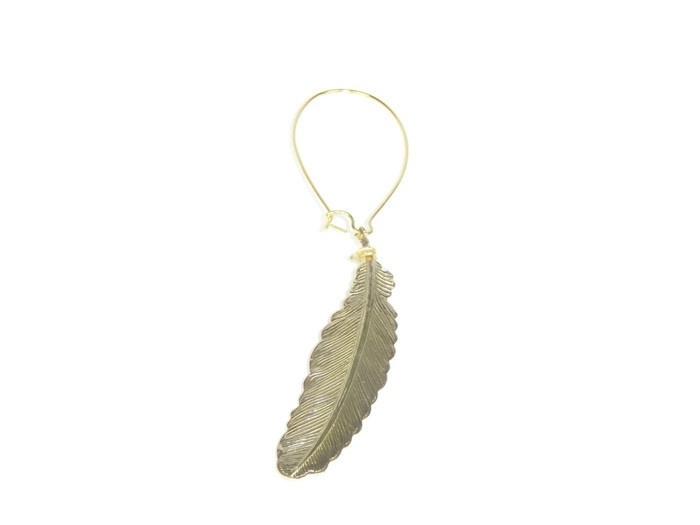 Long single earring feather