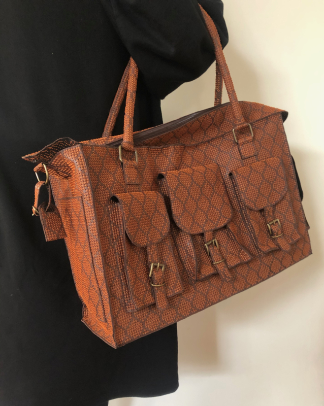 Leather embroidered working bag