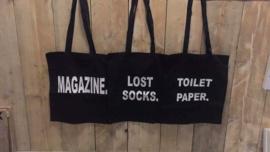 Katoenen zwarte tas met tekst