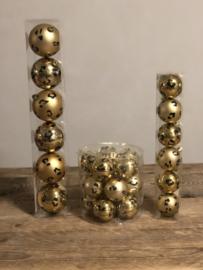 Panterprint kerstballen 6 cm glas 18 stuks