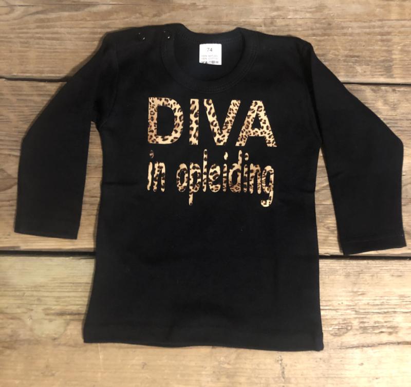 T-shirt met panterprint DIVA in opleiding