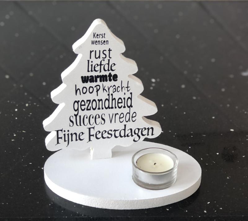 Kerstboompje met tekst en lichtje