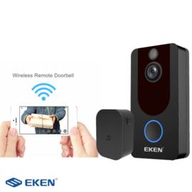 EKEN V7 video deurbel, incl externe bel en batterijen, draadloos - zwart