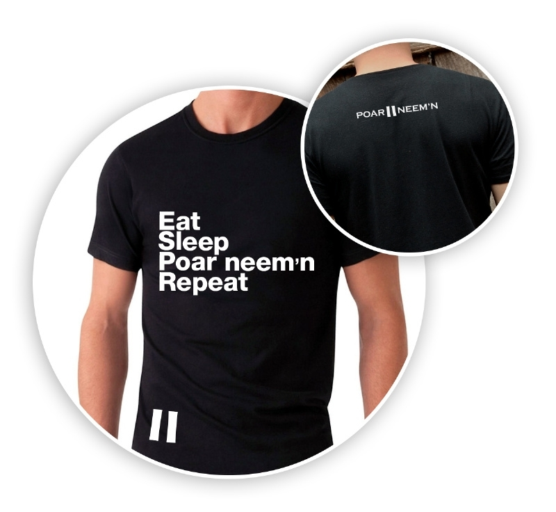 Eat Sleep Poar Neem'n Repeat! - zwart