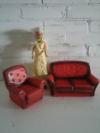 Sindy Set , stoel+bank, Retro