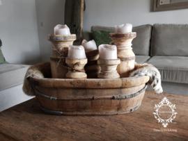 Olijfbak ovaal stoer origineel oud hout - no. 13