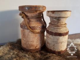 Waterkruik oud houten kandelaar - SET van 2 stuks