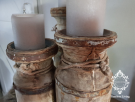 Waterkruik oud houten kandelaar - SET van 3 stuks