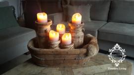Olijfbak ovaal stoer origineel oud hout - no. 2