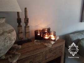 Hangkandelaar Waxine voor windlicht - Zwaar zwart / bruin smeedijzer