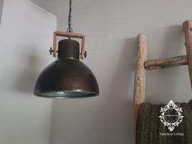 Industriële hanglamp Bo - Hout en zwart metaal Ø 40 cm.