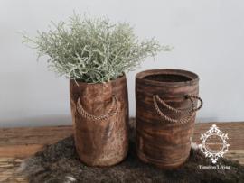 Oud houten lepelpot  met touw no. 14