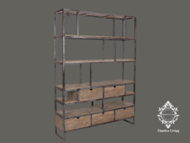 Wandmeubel / Boekenkast Chloé - Massief hout industrieel ijzerwerk