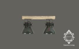 Plafondlamp Industrieel Angelique 2 spots - Army Groen