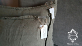 MrsBLOOM 100% linnen kussens - Olive grey 50 x 40