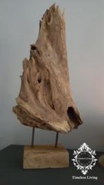 Oud sober hout op statief 70 cm.