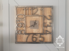 Wandklok Luna - Vierkant hout met ruw nikkel - 51 cm. - Maat XL