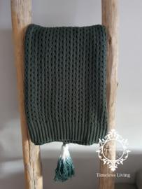 Plaid - Donker groen met kwast 150 x 125